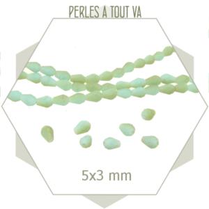 95 perles gouttes en verre turquoise mat, perles à facettes