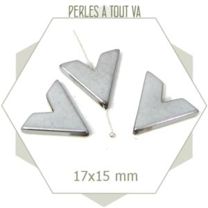 8 perles chevrons hématite métallisée argent, matériel créations uniques