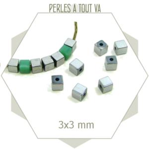 95 perles en hématites carrées 3 x 3mm argentées, petits cubes en hématite
