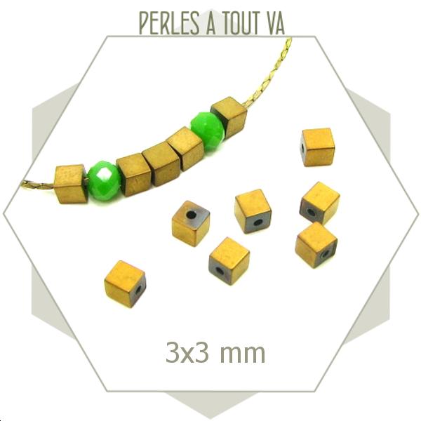 120 perles en hématite carrées 3 x 3mm dorées, cubes hématite couleur or mate