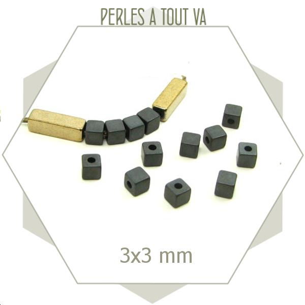 125 perles en hématites cubes 3 x 3mm anthracites mats, éléments carrés pour créations