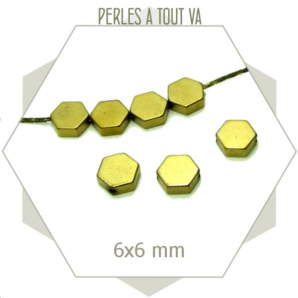 Perles hexagones hématite dorée, matériel pour créations d'accessoires