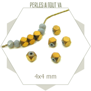 100 perles polygones 4 mm en hématite doré métallisé
