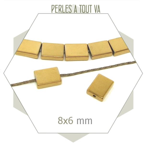 20 perles rectangulaires en hématite, forme géométrique pour bijoux
