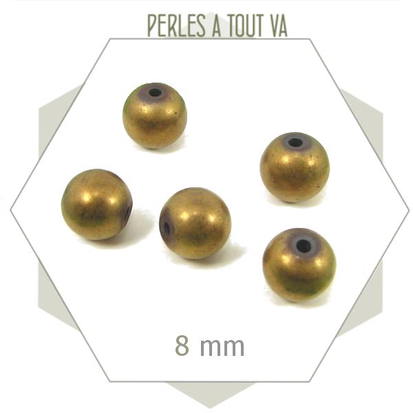30 perles hematite 8mm bronze mat, billes pour créations uniques