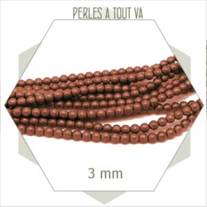 135 perles rondes en hématite 3 mm cuivré mat métallisé