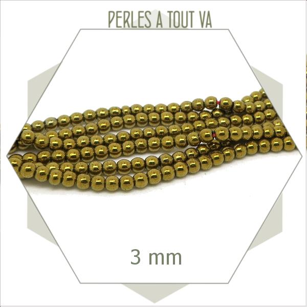 135 perles rondes en hématite 3 mm doré métallisé