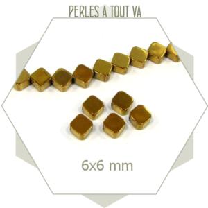 25 perles hématite losanges dorées 6mm, faces aspect métallisé