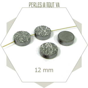 6 perles 12mm plates granulées en hématite, palet faces différentes