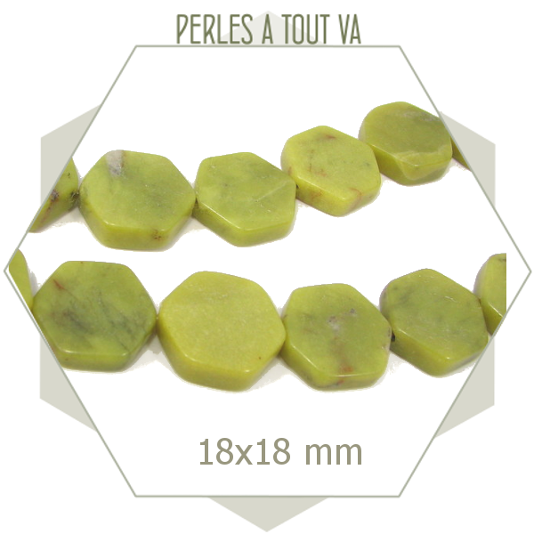 8 perles hexagonales en jade verte 18 mm