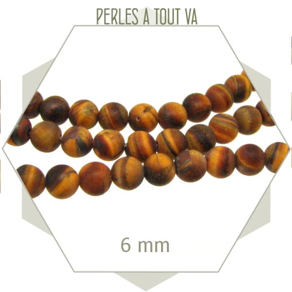 62 perles rondes 6 mm oeil de tigre dépoli