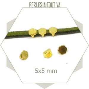 6 perles passantes dorées hexagones