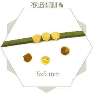6 perles passantes cercles dorées