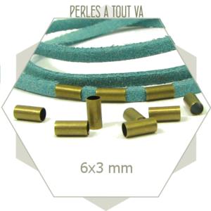 30 perles tubes bronze 3x6 mm