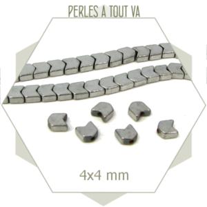 50 perles chevrons en hématite 4 mm argent