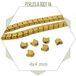 120 perles chevrons en hématite 4 mm doré métallisé