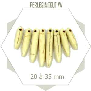 8 perles pointes pierre blanc ivoire