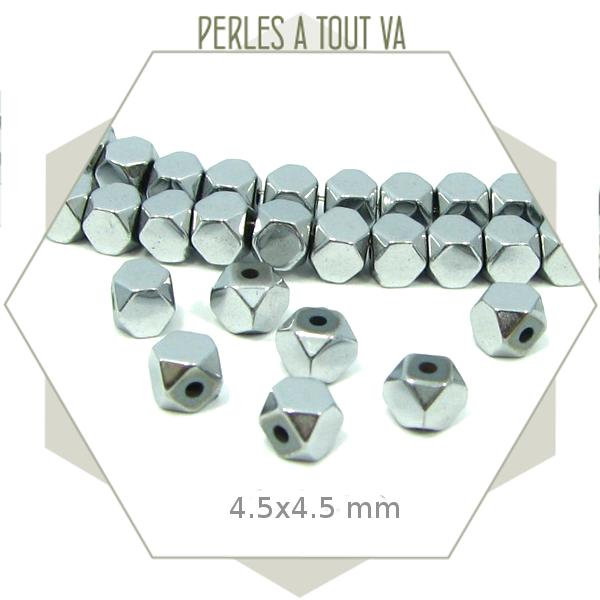 90 perles polygones hématite argentée, élément en forme de boulon