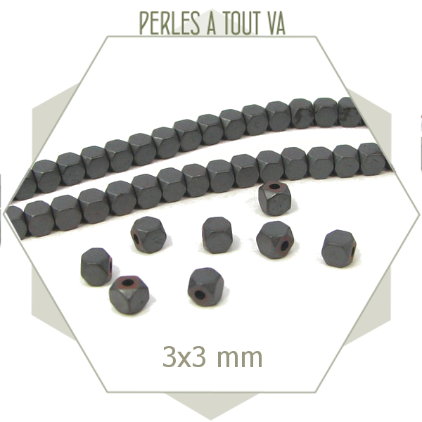 125 perles polygones hématite anthracite mat - boulons