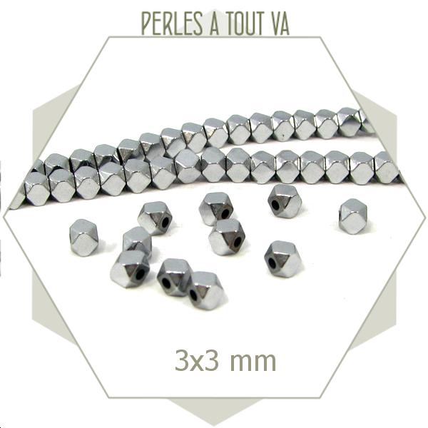 125 perles polygones hématite argentée, élément en forme de boulon
