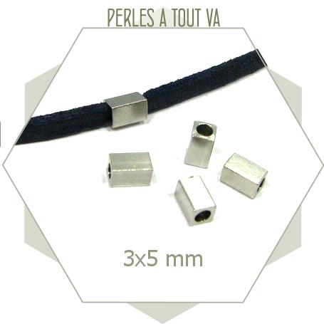 20 perles rectangles acier inox