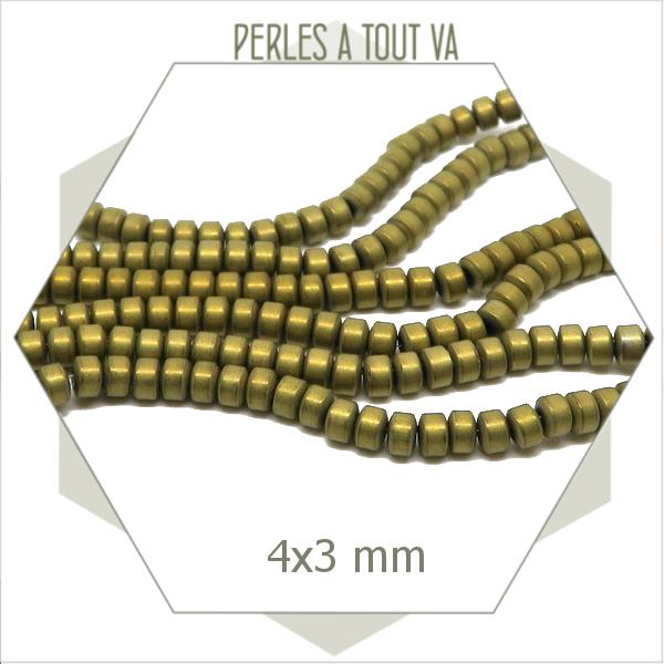 144 perles rondelles en hématite 4 mm métallisées bronze mat