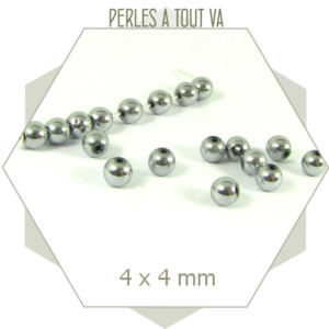 100 Perles hématite rondes couleur argent poli