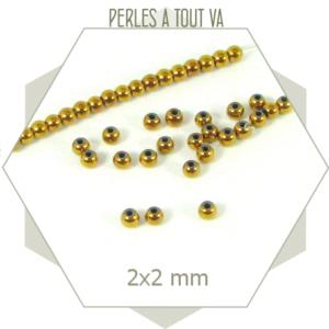 190 perles rondes hématite dorées, billes faces homogènes dorées