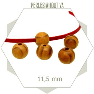 70 perles rondes en bois brut nervuré  10 mm