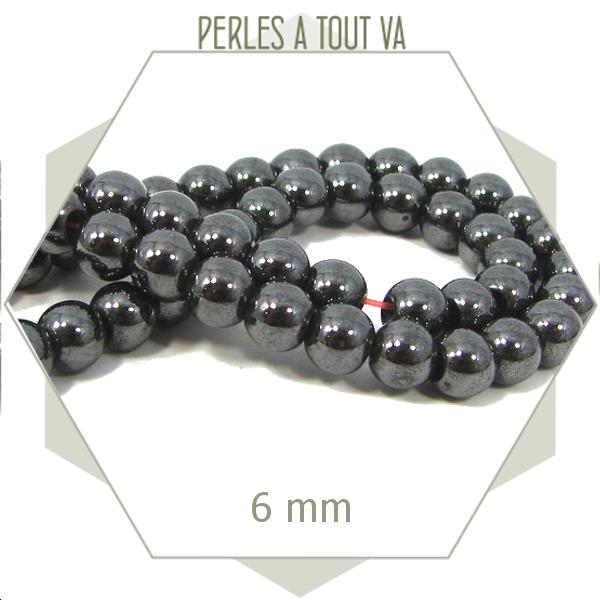 72 perles rondes en hématite magnétique 6 mm couleur grise