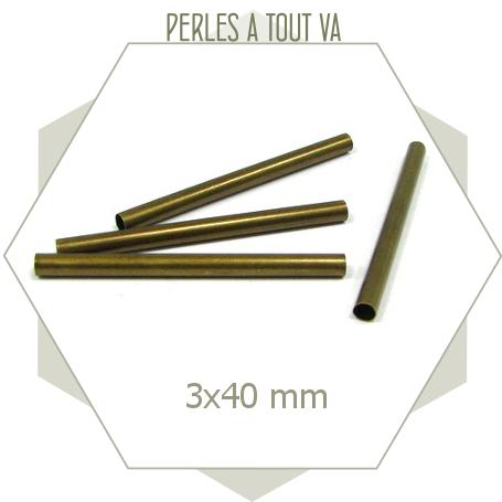 12 cylindres creux fins et allongés couleur bronze, perles rondes pour créations fantaisies
