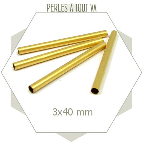 12 longs tubes dorés 3x40mm