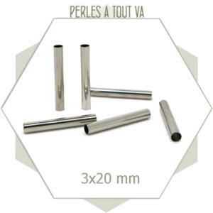 20 perles tubes argent 3x20 mm tubes pour bracelets