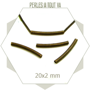 20 perles tubes bronze 20x2mm