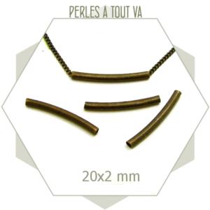 20 perles tubes bronze 20x2mm