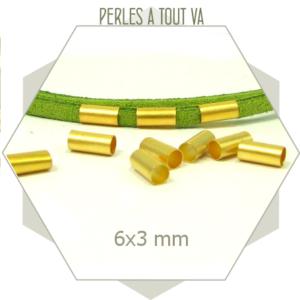 30 perles tubes dorés 3x6 mm