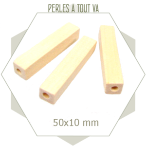12 perles tubes rectangles en bois brut