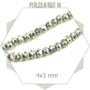 145 perles de verre à facettes donuts argent 4x3 mm