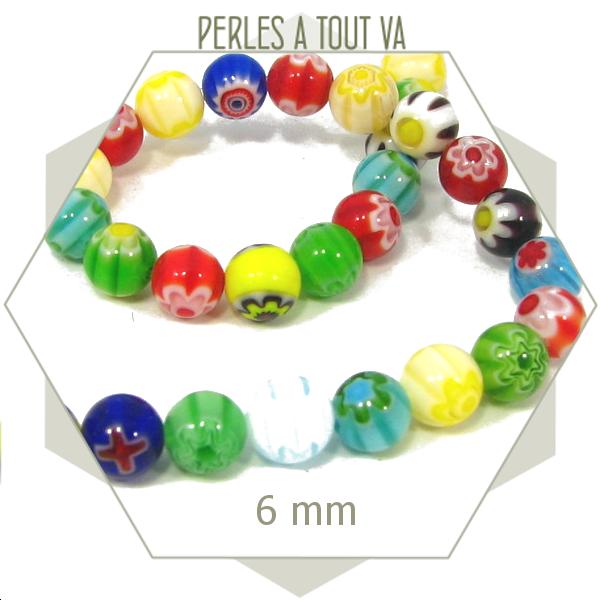 32 perles de verre millefiori rondes 6 mm