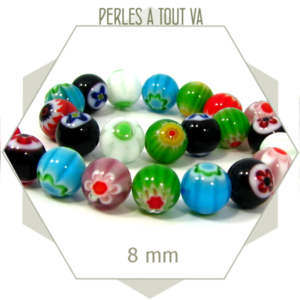 25 perles de verre millefiori rondes 8 mm