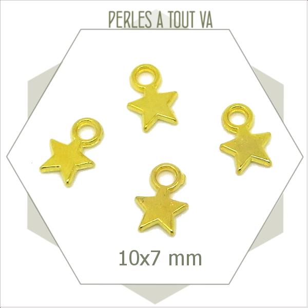 10 breloques étoiles dorées 7x10mm