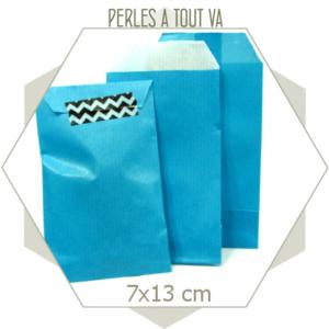 20 pochettes cadeaux kraft bleu turquoise