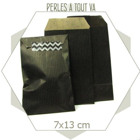 20 pochettes cadeaux papier kraft noir