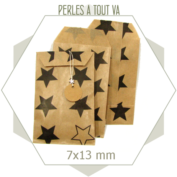 20 pochettes cadeaux kraft motif étoile noire