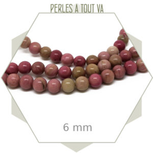 59 perles rondes 6 mm rhodonite rose