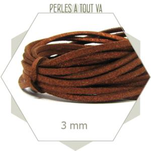5 m lacet suédine aspect daim 3mm pailletée
