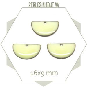6 sequins émaillés demi cercle 16mm blanc crème