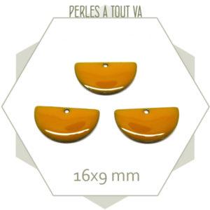 6 sequins émaillés demi cercle 16mm jaune moutarde