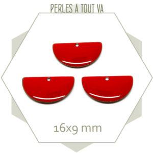 6 sequins émaillés demi cercle 16mm rouge