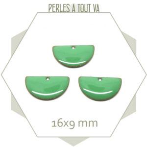 6 sequins émaillés demi cercle 16mm vert d'eau